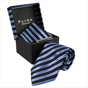 Furbo design ネクタイ&タイバー&カフス&チーフ 4点SET 21078501color6 733482 408 ネイビー系 約8.5cm フルボ デザイン|rocobi
