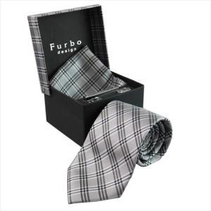 Furbo design ネクタイ&タイバー&カフス&チーフ 4点SET 21088331color1 733811 412 グレー系 約8.5cm フルボ デザイン|rocobi