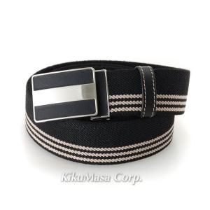 三本ライン入りゴム メンズ ベルト ブラック (コ)|rocobi