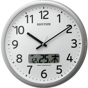 RHYTHM 電波時計 壁掛け時計 プログラムカレンダー01SR 4FNA01SR19 プログラムチャイム 白 ホワイト アナログ rocobi