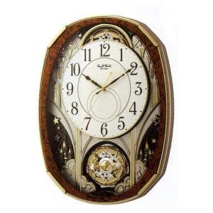 電波時計 壁掛け時計 からくり スモールワールドノエルM 木目仕上げ 4MN513RH23 アナログ|rocobi