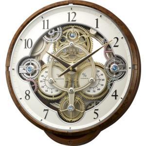 電波時計 壁掛け時計 からくり 4MN515RH23 スモールワールドシーカー 木目仕上(白) アナログ|rocobi
