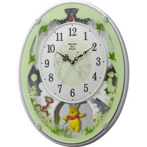 Disney ディズニー 電波時計 壁掛け時計 くまのプーさん M523 4MN523MC03 メロディー 音楽 白パール アナログ|rocobi
