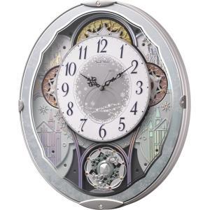 電波時計 壁掛け時計 からくり スモールワールドビスト 4MN537RH04 メロディー 音楽 青メタリック色 白 アナログ|rocobi