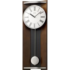 RHYTHM クオーツ壁掛け時計 モダンライフM05 4MPA05RH06 柱時計 振り子 茶色半艶仕上 白 アナログ rocobi