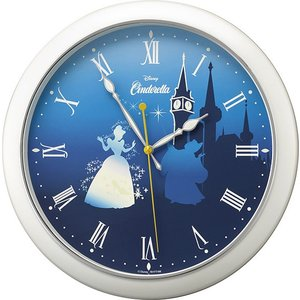 リズム時計工業 ディズニー クオーツ 壁掛け時計 804 シンデレラ 白パール 8MG804MC04 Disney 蓄光 ガラスの靴 アナログ rocobi