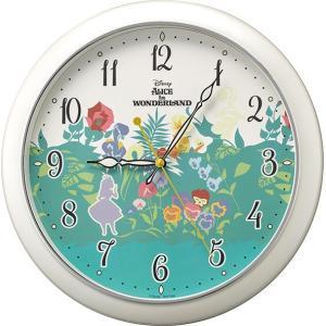 リズム時計工業 ディズニー クオーツ 壁掛け時計 804 不思議の国のアリス 白パール 8MG804MC05 Disney 蓄光 チシャ猫 アナログ rocobi