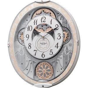 リズム時計工業 からくり 電波 壁掛け時計 スモールワールドノエルNS 8MN407RH03 白パール ホワイト メロディー 音楽 アナログ|rocobi