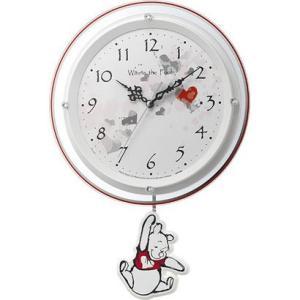 Disney ディズニー 電波時計 壁掛け時計 くまのプーさん 8MX407MC03 振り子 白パール ホワイト アナログ|rocobi