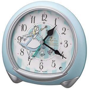 Disney ディズニー クオーツ目覚まし時計 ふしぎの国のアリス 8RE664MC04 子供 スヌーズ ライト付 青 白 アナログ rocobi