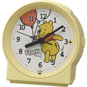 リズム時計工業 ディズニー クオーツ 目覚まし時計 R671 くまのプーさん 8RE671MC33 黄色 白 Disney スヌーズ ライト付き アナログ|rocobi