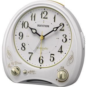 リズム時計工業 RHYTHM クオーツ目覚まし時計 アリアカンタービレN 白 8RM400SR03 メロディー 音楽 ライト付き アナログ rocobi
