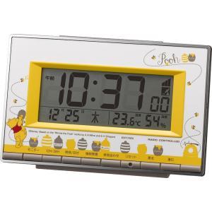 Disney ディズニー 電波目覚まし時計 くまのプーさん 8RZ133MC08 温度 湿度 カレンダー グレー 黄色 イエロー デジタル|rocobi