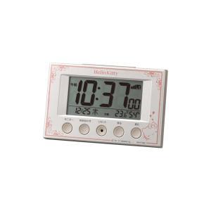 サンリオ 電波時計 目覚まし時計 ハローキティR166 8RZ166MB03 カレンダー 温度 湿度 パールホワイト 白 デジタル rocobi