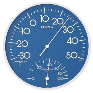 リズム時計工業 CITIZEN シチズン 温湿度計 TM108-4 9CZ056-004 温度計 湿度計 青 ブルー アナログ|rocobi