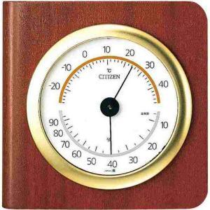 シチズン 掛置兼用温湿度計 9CZ094-006 TM148 茶色木地仕上 アナログ|rocobi