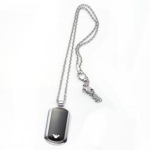 エンポリオ アルマーニ アクセサリー イーグルプレート ペンダント ネックレス シルバー×ブラック EGS1726040|rocobi