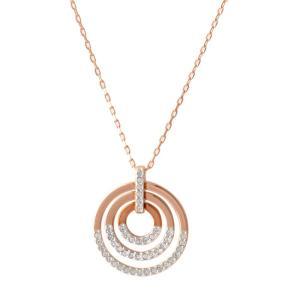 スワロフスキー SWAROVSKI 5349193 クリスタルパヴェ サークル ペンダント ネックレス Circle Rose Gold|rocobi