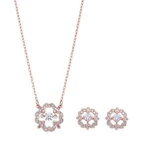 スワロフスキー SWAROVSKI 5408439 ダンシングクリスタル パヴェ フラワー ペンダント ピアスセット Sparkling Dance Flower Rose Gold Set アクセサリー|rocobi