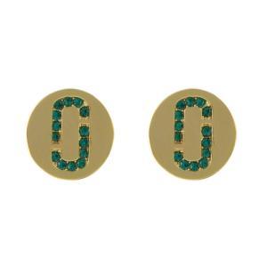 マークジェイコブス M0011472-381 Emerald/Gold クリスタル 「J」ロゴモチーフ ディスク スタッド ピアス Icon Crystal Studs アクセサリー rocobi