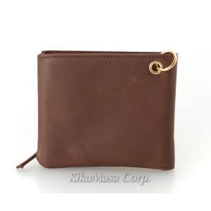 送料無料 ソフト オイル レザー袋縫い二つ折り財布 ブラウン 小銭入れ有り 牛革 本革 メンズ 男性用 茶色|rocobi