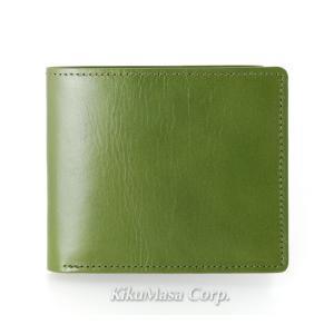 バンタンレザー 二つ折り財布 小銭入れ無し メンズ グリーン (コ)|rocobi