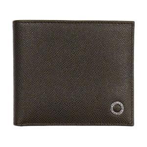 ブルガリ 二つ折り財布 36329 小銭入れ無し ダークブラウン 茶色 パスケース有り メンズ 男性用 型押し グレインレザー 本革 BVLGARI|rocobi