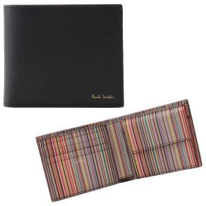 ポールスミス PAUL SMITH 4833 BMULTI 79 小銭入れ有り 二つ折り財布 マルチストライプ ブラック メンズ ウォレット 男性用|rocobi
