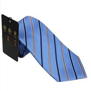 DAKS ダックス ネクタイ d11534color4 ブルー系 約8cm レジメンタル ストライプ ビジネス|rocobi