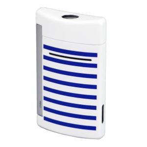 S.T.Dupont エス・テー・デュポン ターボライター MINIJET ミニジェット 10106 ホワイト ブルー ストライプ柄 白 青 国内正規品 (コ)|rocobi|02