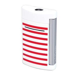 S.T.Dupont エス・テー・デュポン ターボライター MINIJET ミニジェット 10108 ホワイト レッド ストライプ柄 白 赤 国内正規品 (コ)|rocobi