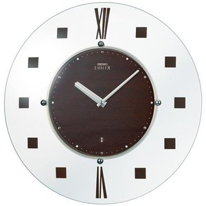 セイコー エンブレム 薄さ26ミリ 壁面にフィット 薄型電波掛け時計 電波時計 壁掛け時計 HS529B アナログ ガラス 茶ブラウン|rocobi