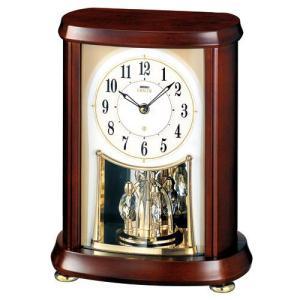セイコー エンブレム スワロフスキー クリスタル回転飾り 高級電波置時計 HW566Bアナログ 茶木枠|rocobi