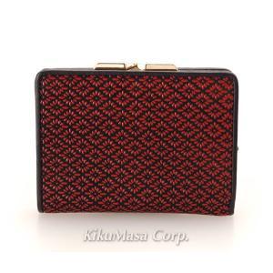 送料無料 印伝 玉取り がま口 二つ折り財布 レッド ブラック 赤 黒 ガマ口 メンズ レディース 男性用 女性用 日本製 和柄 和風|rocobi