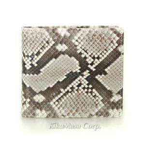 送料無料 錦ヘビ無双二つ折り財布 小銭入れ有り ナチュラル 日本製 メンズ 男性用 蛇革 パイソンレザー|rocobi