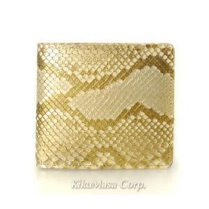 錦蛇薄金柄残し 無双 二つ折り財布 小銭入れ有り ipwg-1001 ゴールド 日本製 メンズ 男性用 蛇 金 パイソンレザー|rocobi