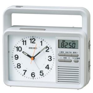セイコー ラジオ付き 防災 時計 KR885N 手動 発電機 付き 目ざまし 時計 グレー アナログ ライトつき とけい rocobi