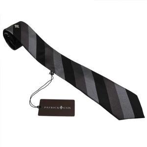 PATRICK COX パトリックコックス ネクタイ PC-015-BLACK ブラック系 7.5cm ストライプ|rocobi
