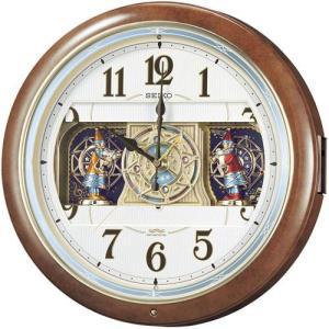セイコー 電波時計 壁掛け時計 からくり RE559H 茶マーブル模様塗装 メロディー 音楽 自動鳴止め アナログ|rocobi