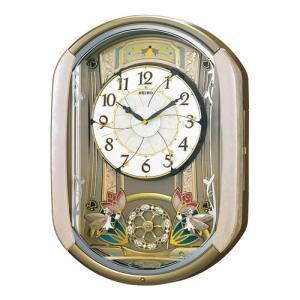 セイコー 電波掛け時計 からくり壁掛け時計 RE567G 薄ピンクマーブル模様塗装 メロディ20曲収録 自動鳴止め アナログ|rocobi