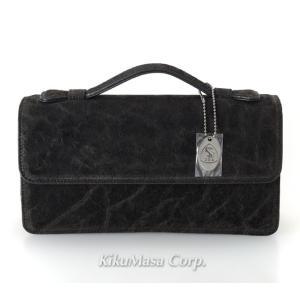 エレファント セカンドバッグ TE152 ブラック かぶせタイプ 象革 メンズ 男性用 高級皮革 黒 ゾウ|rocobi