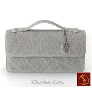 エレファント セカンドバッグ TE152 グレー かぶせタイプ 象革 メンズ 男性用 高級皮革 灰色 ゾウ|rocobi