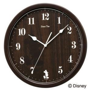 セイコー ディズニータイム クォーツ掛け時計 FW577B ミッキーマウス シルエット 濃茶塗装 ブラウン アナログ rocobi