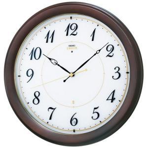 セイコー エンブレム 電波時計 壁掛け時計 HS547B ホワイト ブラウン おしゃれ|rocobi