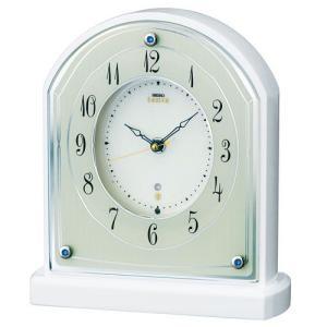 セイコー エンブレム HW587W 電波置時計 白 ホワイト|rocobi