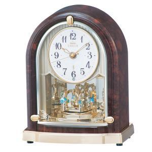 SEIKO CLOCK セイコークロック EMBLEM エンブレム 電波 置き時計 HW591B 回転飾り スワロフスキー クリスタル 濃茶マーブル模様 アナログ|rocobi