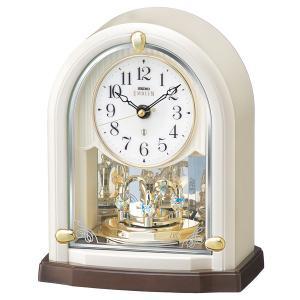 セイコー エンブレム 電波 置時計 HW593W 回転飾り スワロフスキー クリスタル 白パール アナログ おしゃれ|rocobi