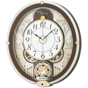 セイコー からくり 電波時計 壁掛け時計 RE577B メロディー 音楽 スワロフスキー 薄金色パール アナログ|rocobi