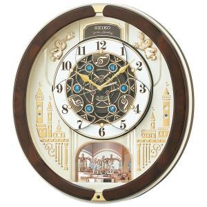セイコー からくり 電波時計 壁掛け時計 RE579B メロディー 音楽 スワロフスキー 薄金色パール アナログ|rocobi
