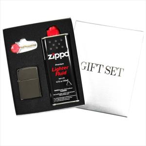 ZIPPO ジッポー ギフトBOXセット レギュラーサイズ チタンコーティング ブラックアイス set-zippo150 黒|rocobi